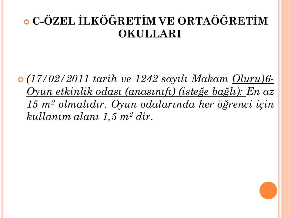 C-ÖZEL İLKÖĞRETİM VE ORTAÖĞRETİM OKULLARI (17/02/2011 tarih ve 1242 sayılı Makam Oluru)6- Oyun etkinlik odası (anasınıfı) (isteğe bağlı): En az 15 m 2