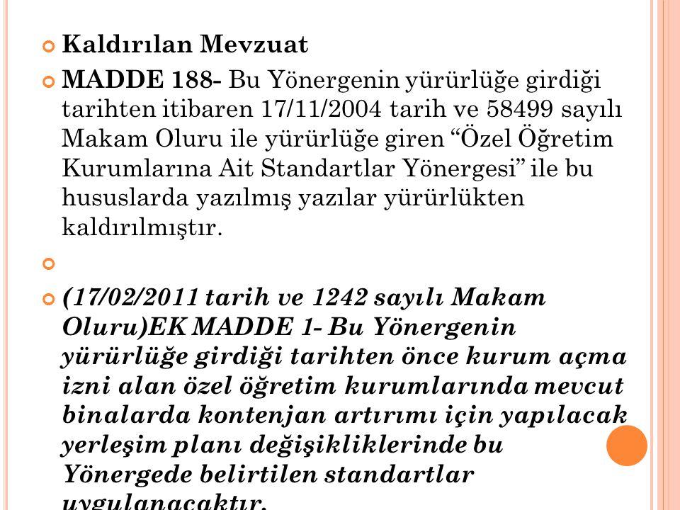 """Kaldırılan Mevzuat MADDE 188- Bu Yönergenin yürürlüğe girdiği tarihten itibaren 17/11/2004 tarih ve 58499 sayılı Makam Oluru ile yürürlüğe giren """"Özel"""