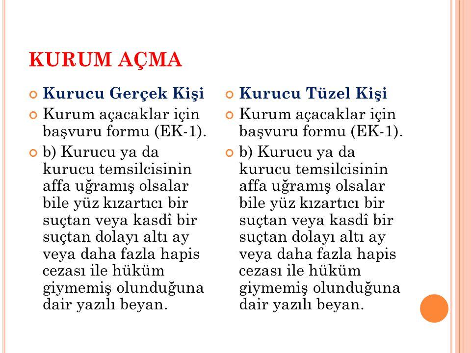 KURUM AÇMA Ad verme MADDE 7 (1) Özel öğretim kurumlarına verilecek adların, Türk Millî Eğitiminin genel ve özel amaçları ile temel ilkelerine aykırı düşmemesi ve Türkçe olması şartıyla kurumun amacına ve düzeyine uygun ve belli bir anlam taşıması gerekir.
