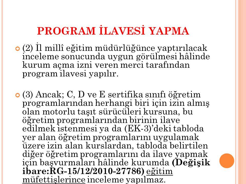 PROGRAM İLAVESİ YAPMA (2) İl millî eğitim müdürlüğünce yaptırılacak inceleme sonucunda uygun görülmesi hâlinde kurum açma izni veren merci tarafından