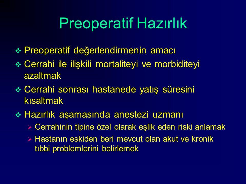 Preoperatif Hazırlık  Preoperatif değerlendirmenin amacı  Cerrahi ile ilişkili mortaliteyi ve morbiditeyi azaltmak  Cerrahi sonrası hastanede yatış