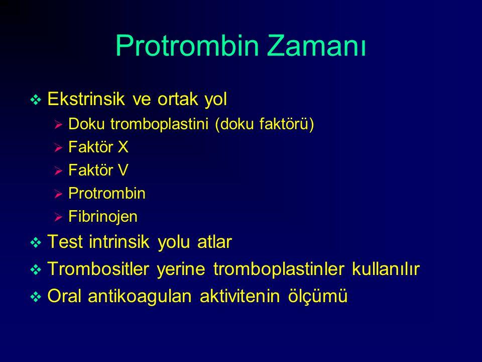 Protrombin Zamanı  Ekstrinsik ve ortak yol  Doku tromboplastini (doku faktörü)  Faktör X  Faktör V  Protrombin  Fibrinojen  Test intrinsik yolu