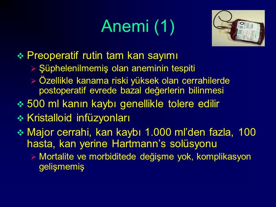Anemi (1)  Preoperatif rutin tam kan sayımı  Şüphelenilmemiş olan aneminin tespiti  Özellikle kanama riski yüksek olan cerrahilerde postoperatif ev