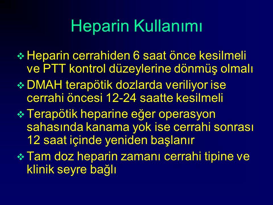 Heparin Kullanımı  Heparin cerrahiden 6 saat önce kesilmeli ve PTT kontrol düzeylerine dönmüş olmalı  DMAH terapötik dozlarda veriliyor ise cerrahi