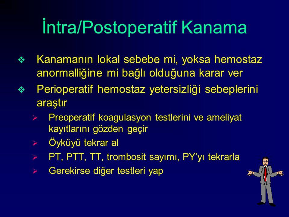 İntra/Postoperatif Kanama  Kanamanın lokal sebebe mi, yoksa hemostaz anormalliğine mi bağlı olduğuna karar ver  Perioperatif hemostaz yetersizliği s