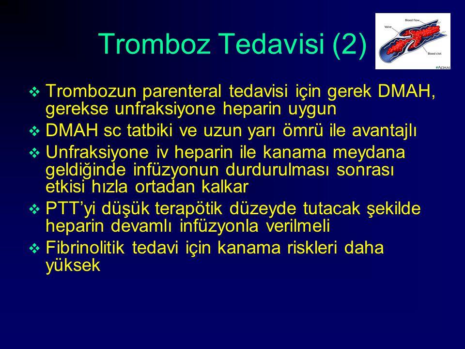 Tromboz Tedavisi (2)  Trombozun parenteral tedavisi için gerek DMAH, gerekse unfraksiyone heparin uygun  DMAH sc tatbiki ve uzun yarı ömrü ile avant