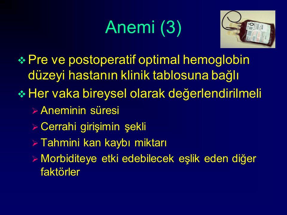 Anemi (3)  Pre ve postoperatif optimal hemoglobin düzeyi hastanın klinik tablosuna bağlı  Her vaka bireysel olarak değerlendirilmeli  Aneminin süre