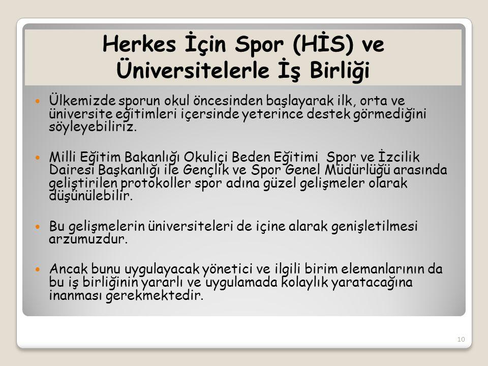 Herkes İçin Spor (HİS) ve Üniversitelerle İş Birliği  Ülkemizde sporun okul öncesinden başlayarak ilk, orta ve üniversite eğitimleri içersinde yeteri