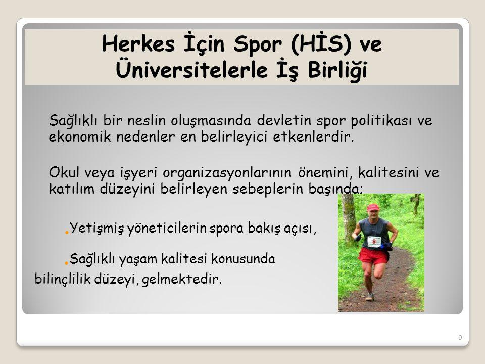 Herkes İçin Spor (HİS) ve Üniversitelerle İş Birliği Sağlıklı bir neslin oluşmasında devletin spor politikası ve ekonomik nedenler en belirleyici etkenlerdir.