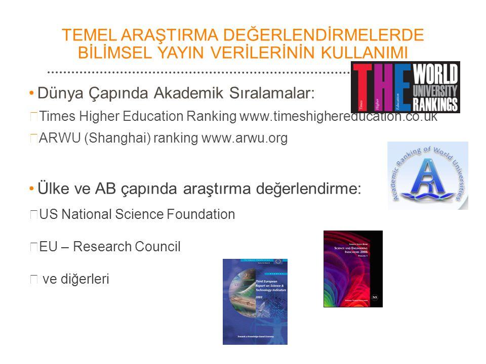 TEMEL ARAŞTIRMA DEĞERLENDİRMELERDE BİLİMSEL YAYIN VERİLERİNİN KULLANIMI •Dünya Çapında Akademik Sıralamalar:  Times Higher Education Ranking www.time