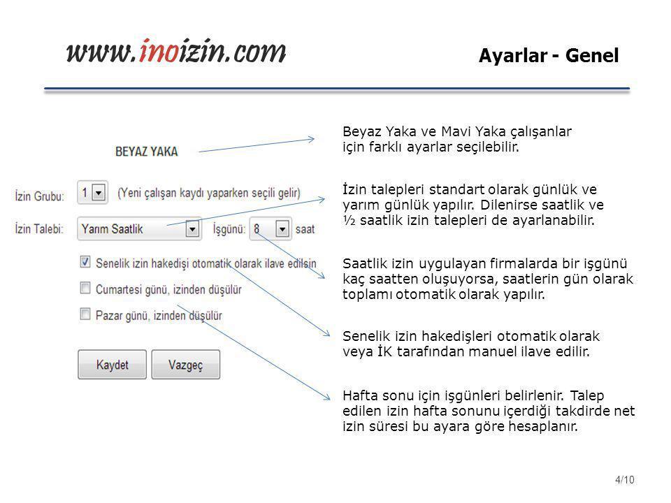 www.inoizin.com Beyaz Yaka ve Mavi Yaka çalışanlar için farklı ayarlar seçilebilir. İzin talepleri standart olarak günlük ve yarım günlük yapılır. Dil