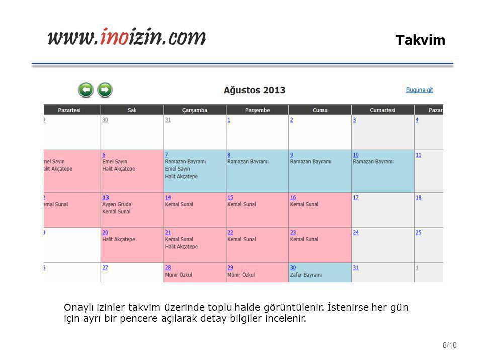 www.inoizin.com Takvim Onaylı izinler takvim üzerinde toplu halde görüntülenir. İstenirse her gün için ayrı bir pencere açılarak detay bilgiler incele