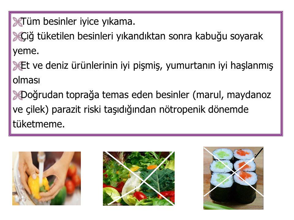  Tüm besinler iyice yıkama.  Çiğ tüketilen besinleri yıkandıktan sonra kabuğu soyarak yeme.  Et ve deniz ürünlerinin iyi pişmiş, yumurtanın iyi haş