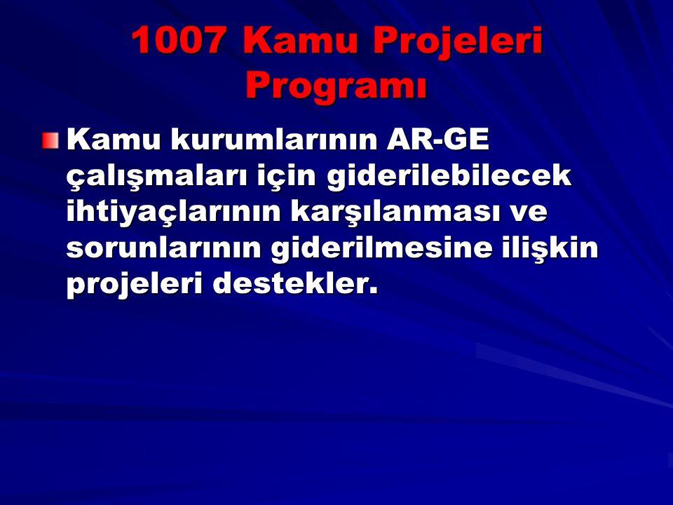 1007 Kamu Projeleri Programı Kamu kurumlarının AR-GE çalışmaları için giderilebilecek ihtiyaçlarının karşılanması ve sorunlarının giderilmesine ilişki