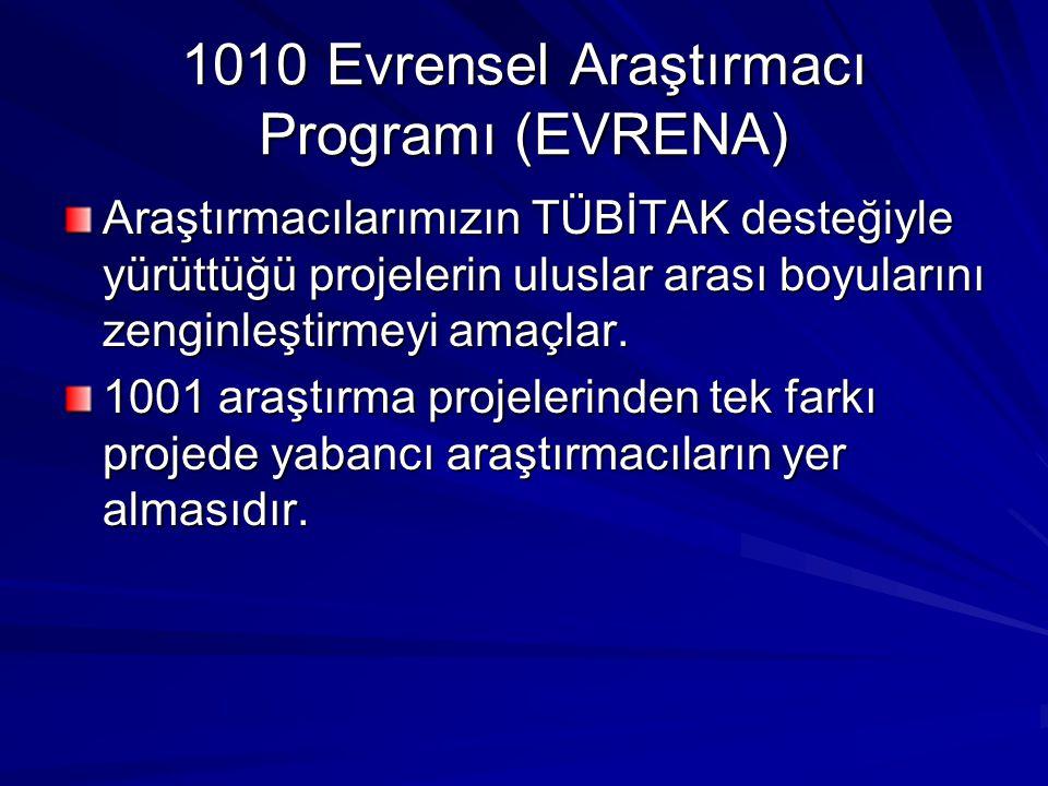 1010 Evrensel Araştırmacı Programı (EVRENA) Araştırmacılarımızın TÜBİTAK desteğiyle yürüttüğü projelerin uluslar arası boyularını zenginleştirmeyi ama