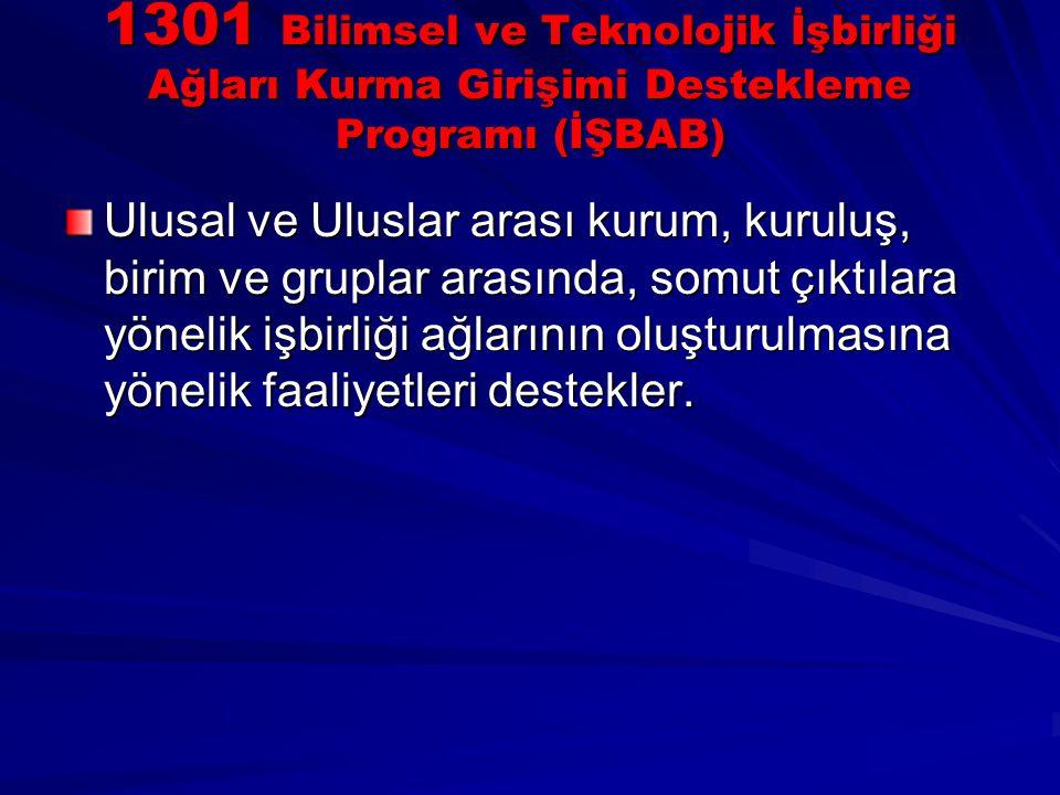 1301 Bilimsel ve Teknolojik İşbirliği Ağları Kurma Girişimi Destekleme Programı (İŞBAB) Ulusal ve Uluslar arası kurum, kuruluş, birim ve gruplar arası