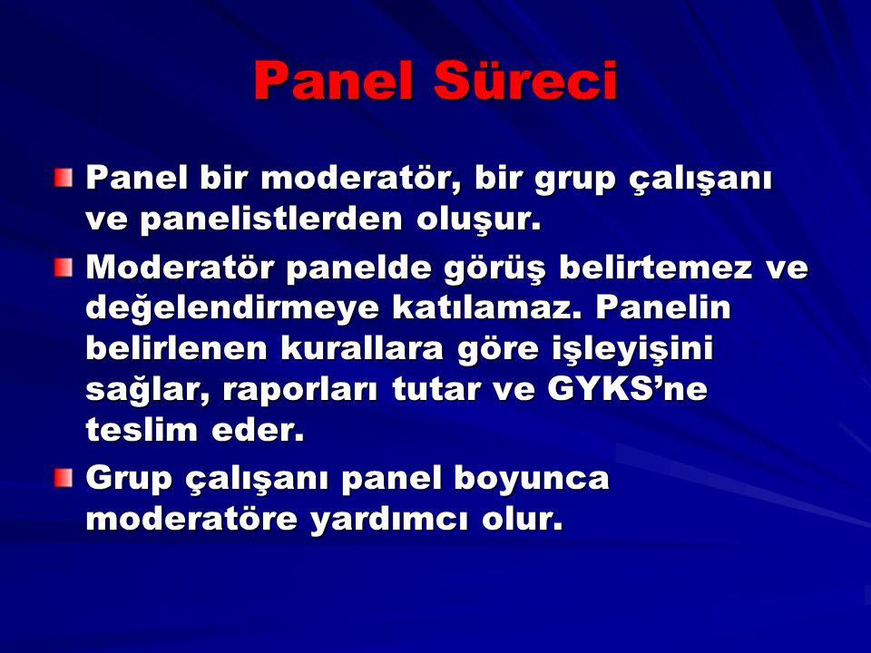Panel Süreci Panel bir moderatör, bir grup çalışanı ve panelistlerden oluşur. Moderatör panelde görüş belirtemez ve değelendirmeye katılamaz. Panelin