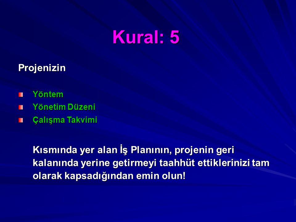 Kural: 5 ProjenizinYöntem Yönetim Düzeni Çalışma Takvimi Kısmında yer alan İş Planının, projenin geri kalanında yerine getirmeyi taahhüt ettiklerinizi