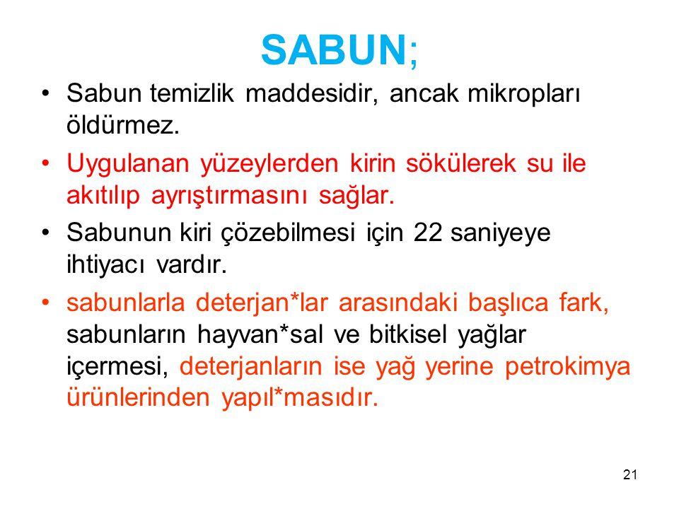 21 SABUN; •Sabun temizlik maddesidir, ancak mikropları öldürmez.