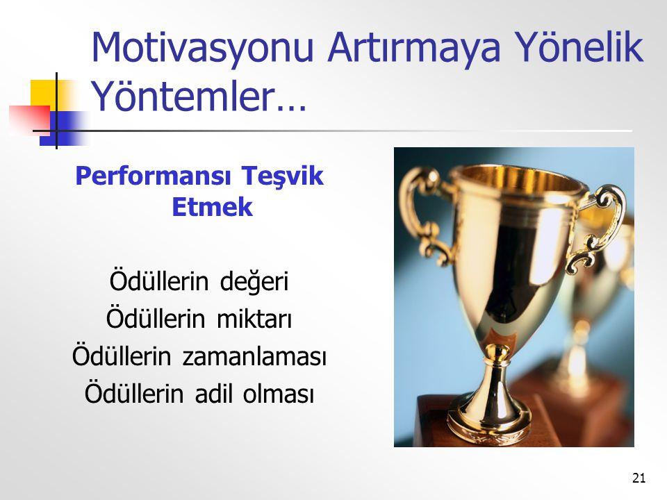 21 Motivasyonu Artırmaya Yönelik Yöntemler… Performansı Teşvik Etmek Ödüllerin değeri Ödüllerin miktarı Ödüllerin zamanlaması Ödüllerin adil olması