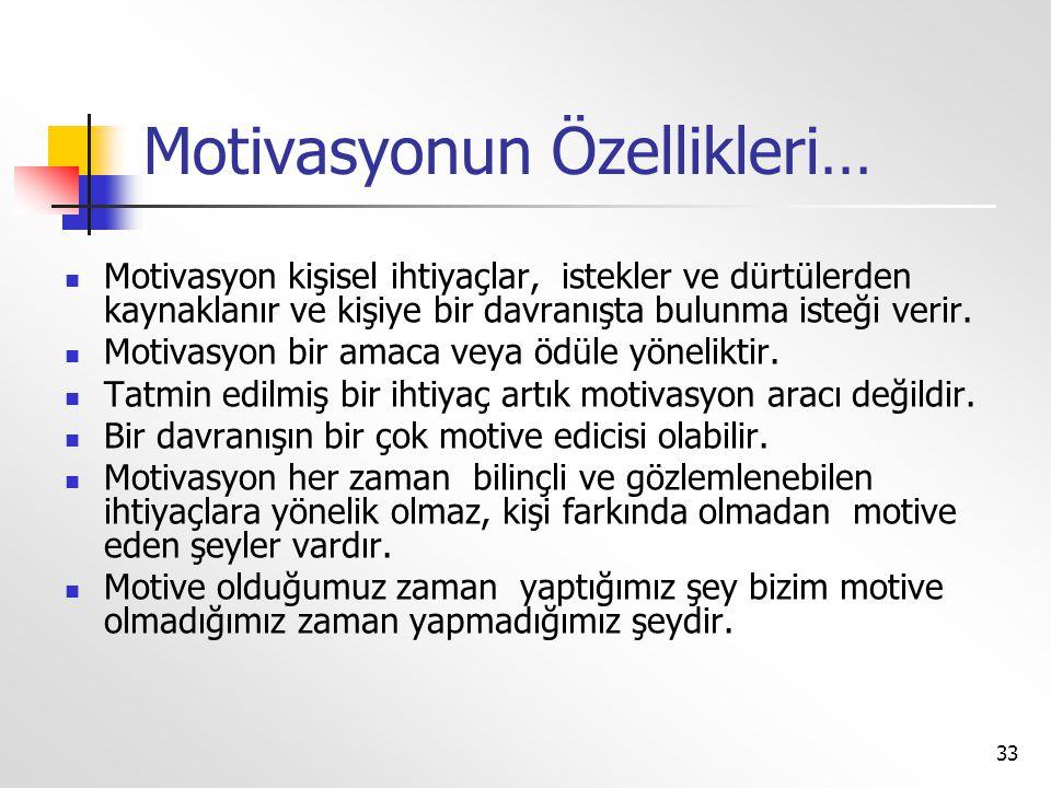 33 Motivasyonun Özellikleri…  Motivasyon kişisel ihtiyaçlar, istekler ve dürtülerden kaynaklanır ve kişiye bir davranışta bulunma isteği verir.  Mot