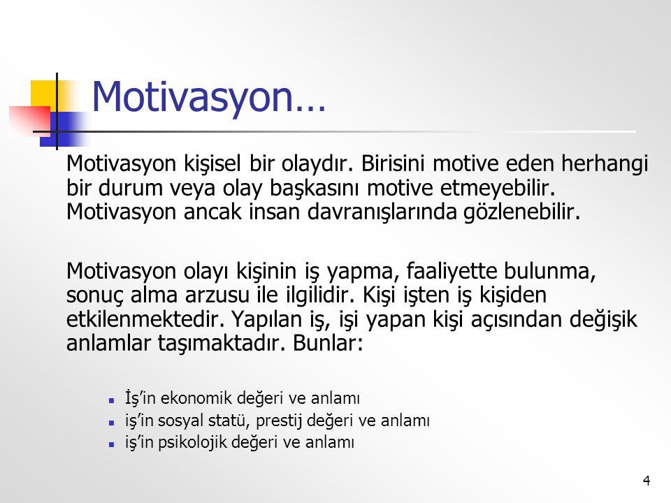4 Motivasyon… Motivasyon kişisel bir olaydır. Birisini motive eden herhangi bir durum veya olay başkasını motive etmeyebilir. Motivasyon ancak insan d