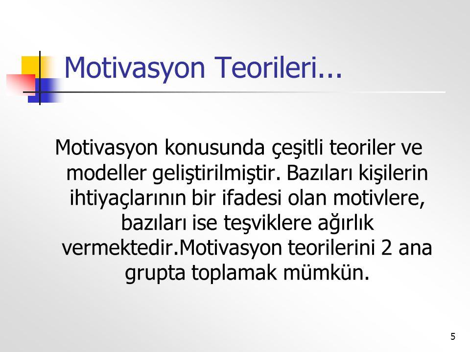 5 Motivasyon Teorileri... Motivasyon konusunda çeşitli teoriler ve modeller geliştirilmiştir. Bazıları kişilerin ihtiyaçlarının bir ifadesi olan motiv