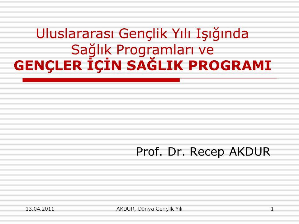 AKDUR, Dünya Gençlik Yılı1 Uluslararası Gençlik Yılı Işığında Sağlık Programları ve GENÇLER İÇİN SAĞLIK PROGRAMI Prof. Dr. Recep AKDUR 13.04.2011