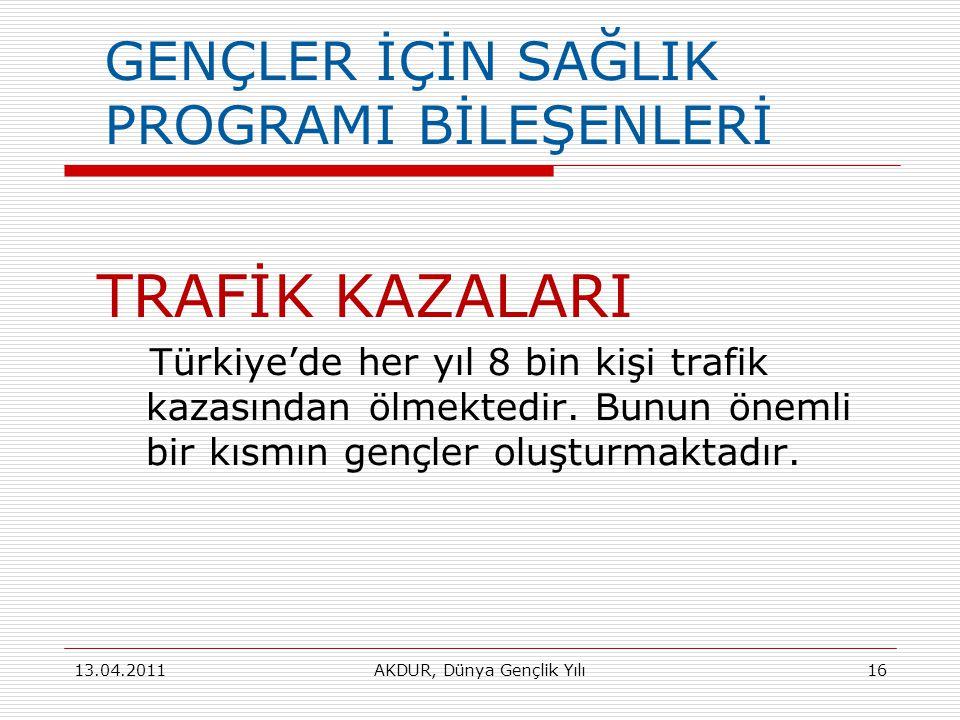 GENÇLER İÇİN SAĞLIK PROGRAMI BİLEŞENLERİ TRAFİK KAZALARI Türkiye'de her yıl 8 bin kişi trafik kazasından ölmektedir.