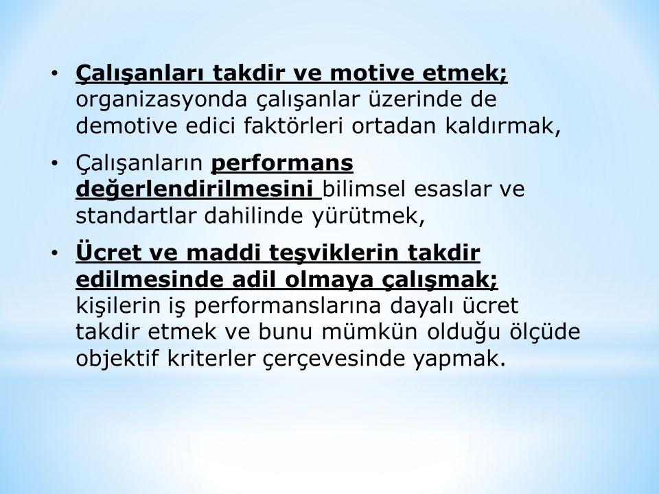 • Çalışanları takdir ve motive etmek; organizasyonda çalışanlar üzerinde de demotive edici faktörleri ortadan kaldırmak, • Çalışanların performans değ