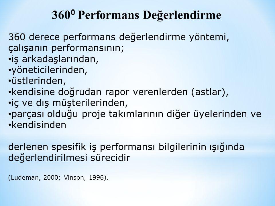 360 0 Performans Değerlendirme 360 derece performans değerlendirme yöntemi, çalışanın performansının; • iş arkadaşlarından, • yöneticilerinden, • üstlerinden, • kendisine doğrudan rapor verenlerden (astlar), • iç ve dış müşterilerinden, • parçası olduğu proje takımlarının diğer üyelerinden ve • kendisinden derlenen spesifik iş performansı bilgilerinin ışığında değerlendirilmesi sürecidir (Ludeman, 2000; Vinson, 1996).