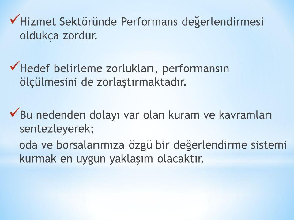  Hizmet Sektöründe Performans değerlendirmesi oldukça zordur.