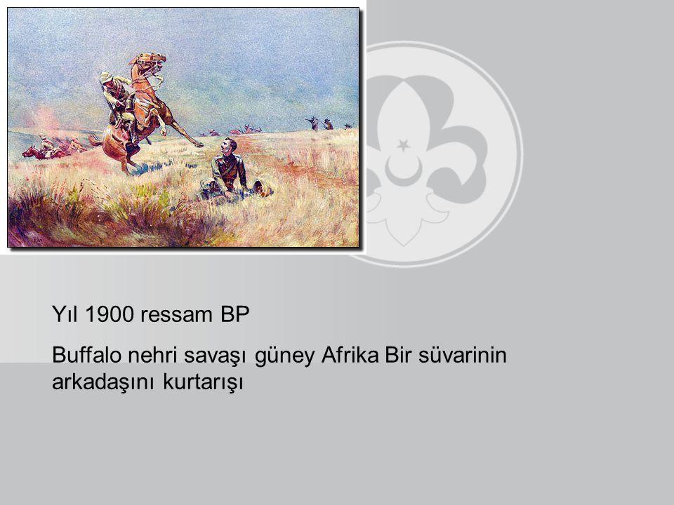 Yıl 1900 ressam BP Buffalo nehri savaşı güney Afrika Bir süvarinin arkadaşını kurtarışı