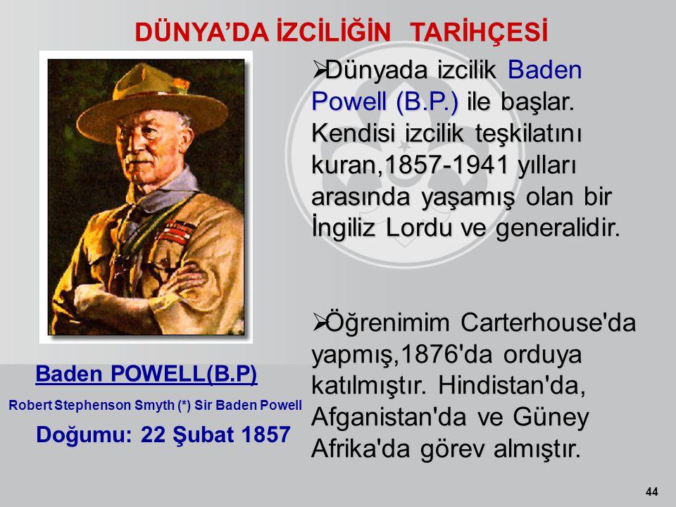 44 DÜNYA'DA İZCİLİĞİN TARİHÇESİ Doğumu: 22 Şubat 1857 Baden POWELL(B.P) Robert Stephenson Smyth (*) Sir Baden Powell  Dünyada izcilik Baden Powell (B