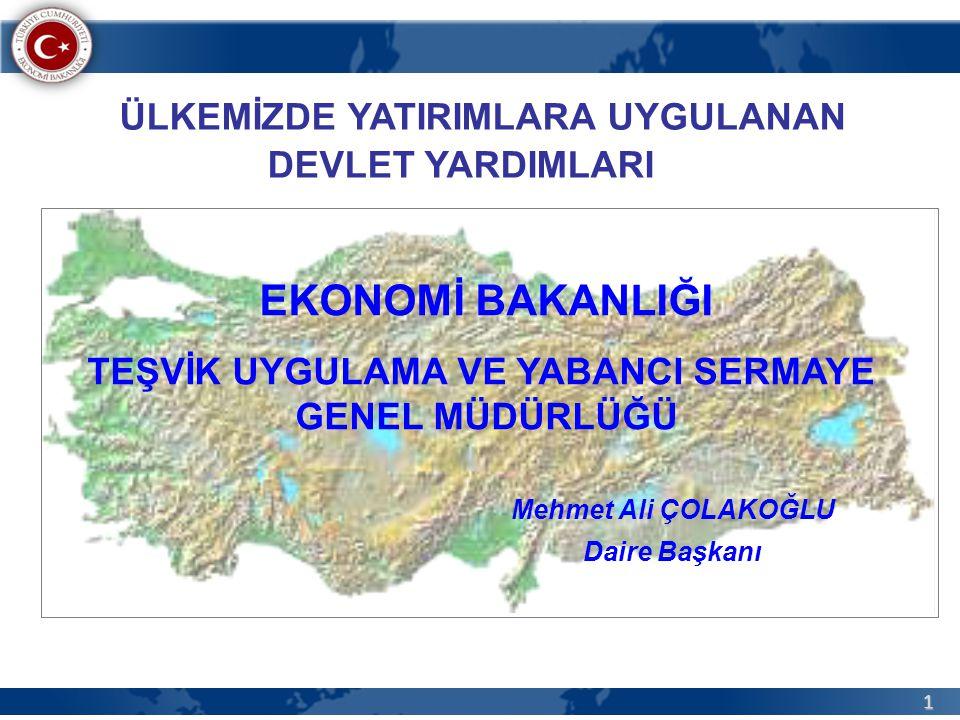 52 Temmuz 2009 – Mart 2012 Arasında Düzenlenen Yatırım Teşvik Belgelerinin Bölgelere Göre Dağılımı (Belge Adedi)