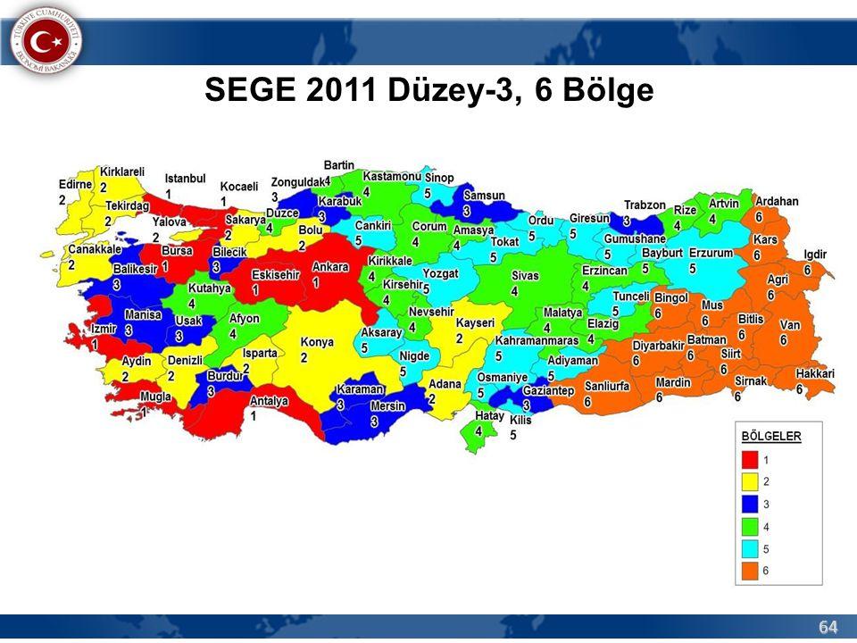 64 SEGE 2011 Düzey-3, 6 Bölge
