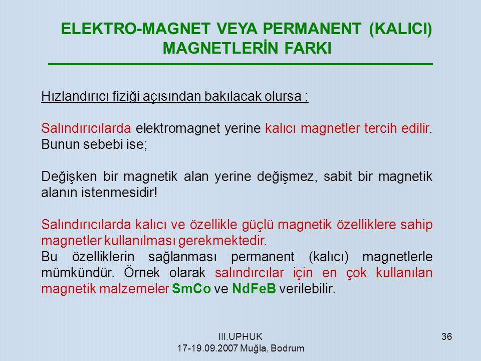 III.UPHUK 17-19.09.2007 Muğla, Bodrum 36 ELEKTRO-MAGNET VEYA PERMANENT (KALICI) MAGNETLERİN FARKI Hızlandırıcı fiziği açısından bakılacak olursa ; Sal