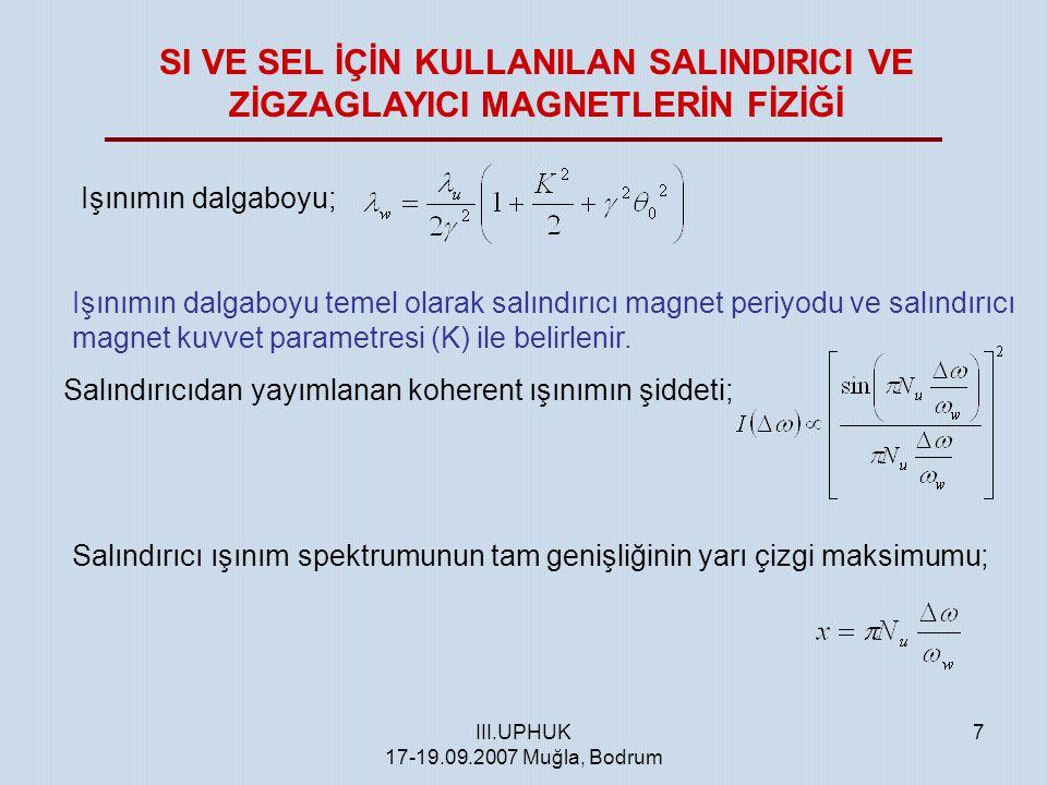 III.UPHUK 17-19.09.2007 Muğla, Bodrum 7 Işınımın dalgaboyu; Işınımın dalgaboyu temel olarak salındırıcı magnet periyodu ve salındırıcı magnet kuvvet p