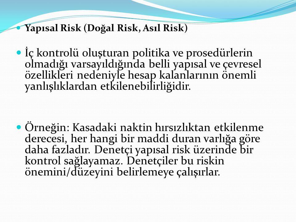  Yapısal Risk (Doğal Risk, Asıl Risk)  İç kontrolü oluşturan politika ve prosedürlerin olmadığı varsayıldığında belli yapısal ve çevresel özellikler