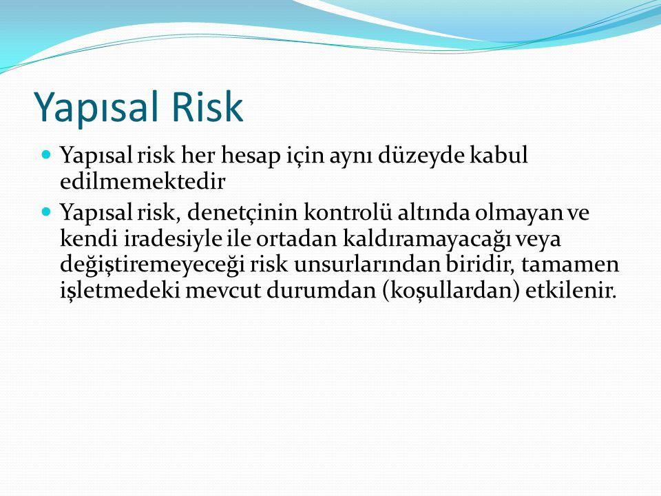 Yapısal Risk  Yapısal risk her hesap için aynı düzeyde kabul edilmemektedir  Yapısal risk, denetçinin kontrolü altında olmayan ve kendi iradesiyle i