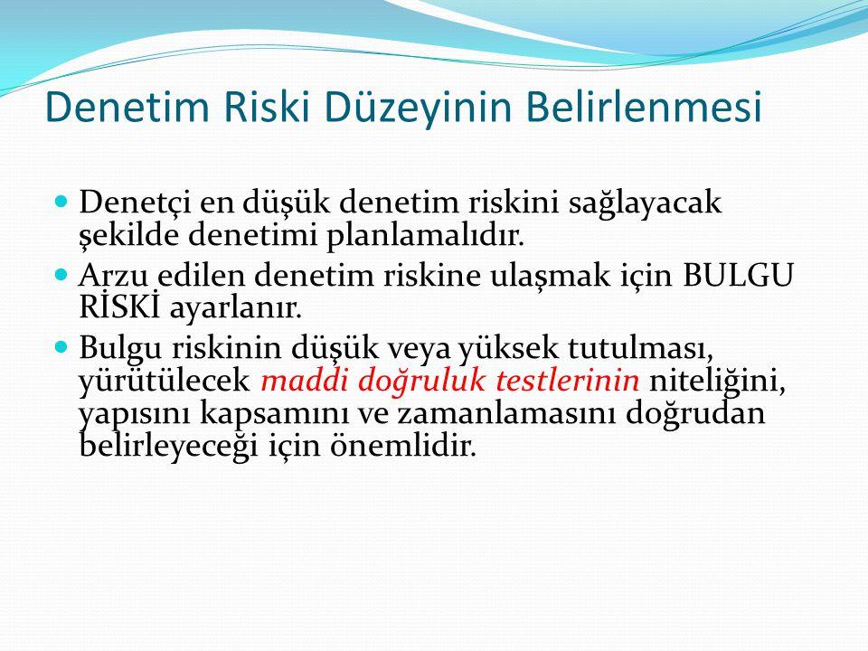 Denetim Riski Düzeyinin Belirlenmesi  Denetçi en düşük denetim riskini sağlayacak şekilde denetimi planlamalıdır.  Arzu edilen denetim riskine ulaşm