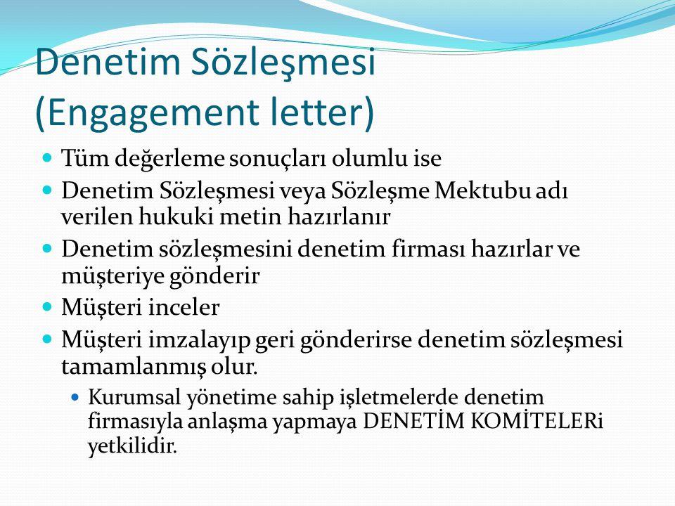 Denetim Sözleşmesi (Engagement letter)  Tüm değerleme sonuçları olumlu ise  Denetim Sözleşmesi veya Sözleşme Mektubu adı verilen hukuki metin hazırl