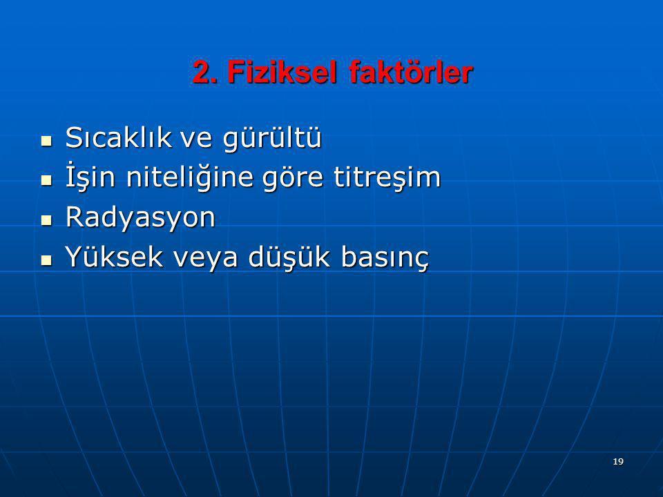 19 2. Fiziksel faktörler  Sıcaklık ve gürültü  İşin niteliğine göre titreşim  Radyasyon  Yüksek veya düşük basınç