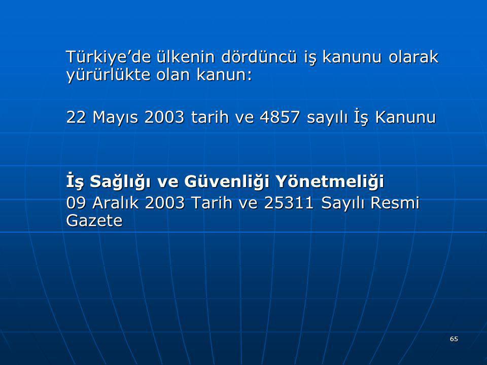65 Türkiye'de ülkenin dördüncü iş kanunu olarak yürürlükte olan kanun: 22 Mayıs 2003 tarih ve 4857 sayılı İş Kanunu İş Sağlığı ve Güvenliği Yönetmeliğ