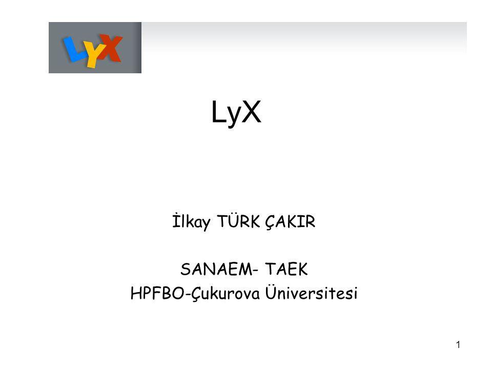 1 LyX İlkay TÜRK ÇAKIR SANAEM- TAEK HPFBO-Çukurova Üniversitesi