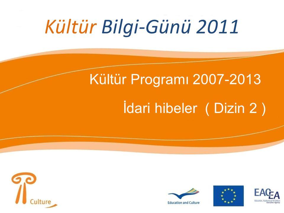Kültür Bilgi-Günü 2011 Kültür Programı 2007-2013 İdari hibeler ( Dizin 2 )