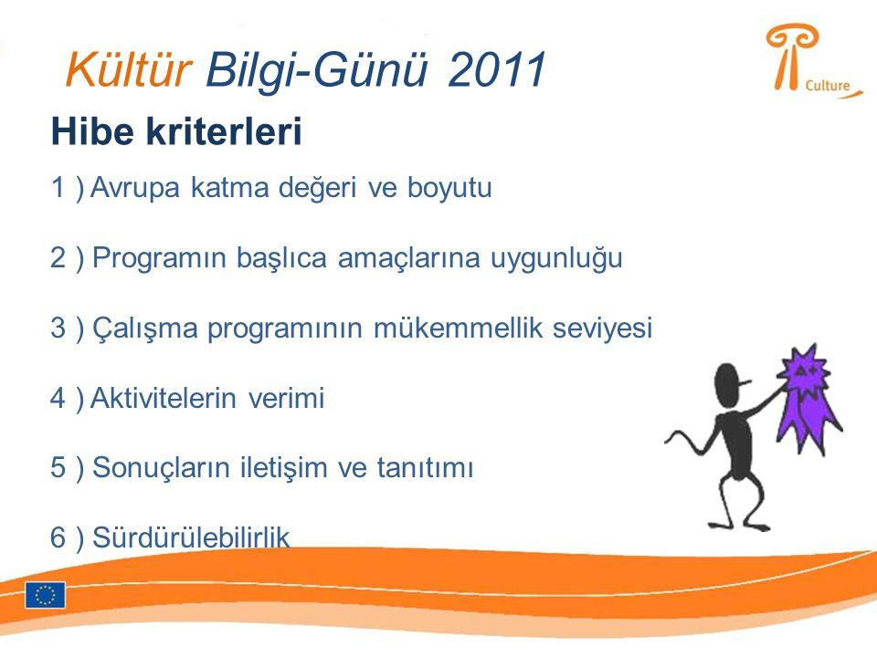 Kültür Bilgi-Günü 2011 Hibe kriterleri 1 ) Avrupa katma değeri ve boyutu 2 ) Programın başlıca amaçlarına uygunluğu 3 ) Çalışma programının mükemmelli