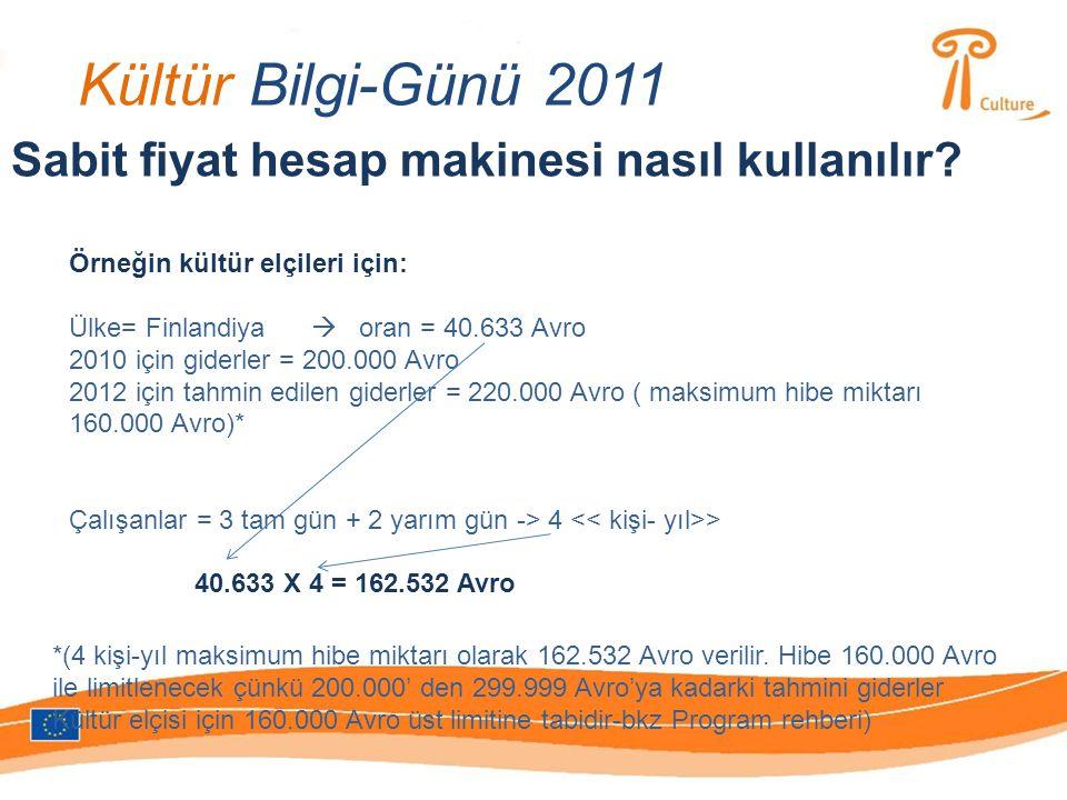 Kültür Bilgi-Günü 2011 Sabit fiyat hesap makinesi nasıl kullanılır? Örneğin kültür elçileri için: Ülke= Finlandiya  oran = 40.633 Avro 2010 için gide