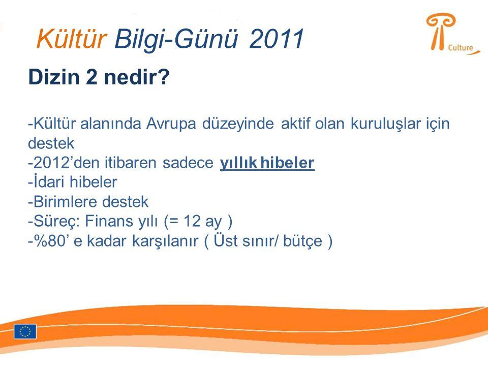 Kültür Bilgi-Günü 2011 Dizin 2 nedir? -Kültür alanında Avrupa düzeyinde aktif olan kuruluşlar için destek -2012'den itibaren sadece yıllık hibeler -İd