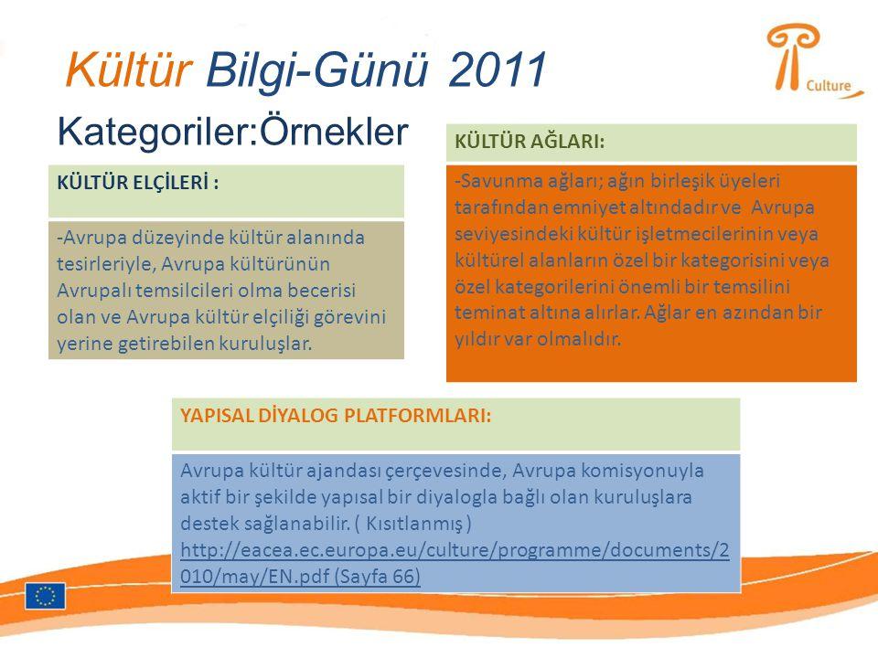 Kültür Bilgi-Günü 2011 Kategoriler:Örnekler KÜLTÜR ELÇİLERİ : -Avrupa düzeyinde kültür alanında tesirleriyle, Avrupa kültürünün Avrupalı temsilcileri